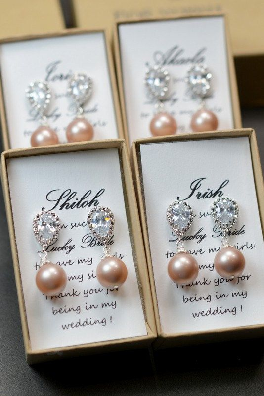 Wedding Jewelry Bridesmaid Gift Bridesmaid Jewelry Bridal Jewelry Swarovski  Pearl Drop Earrings Cubic Zirconia .Silver champagne wedding