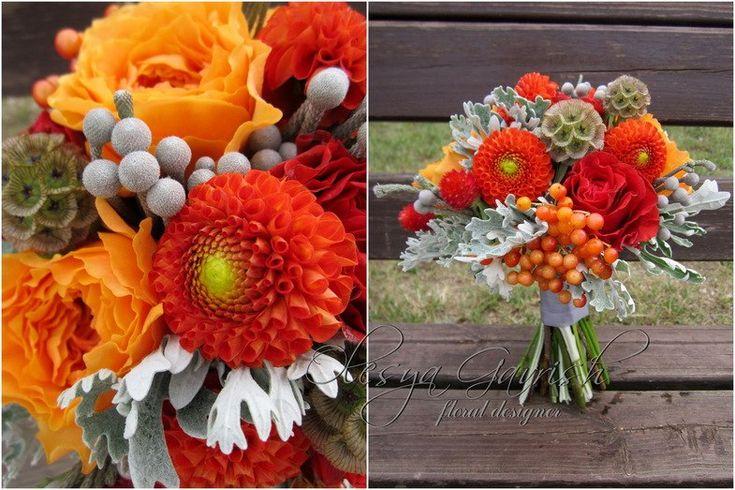 Олеся Гавриш - свадебная флористика и декор - Яркий оранжево-красно-серый букет невесты с пионовидными розами, георгинами и цинерарией