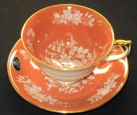 AYNSLEY WHITE ROSE ORANGE GOLD TEA CUP AND SAUCER  85.00