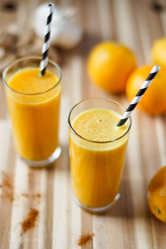 Power Detox Drink mit Zitrone, Orange, Kurkuma, Ingwer, Cayenne Pfeffer
