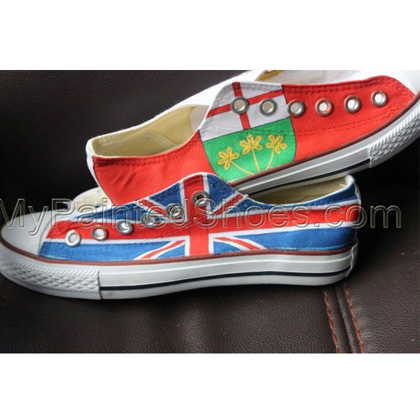 61f83b5f56a3 Custom Flag Converse Shoes Canada Flag UK Flag High Top painted ...