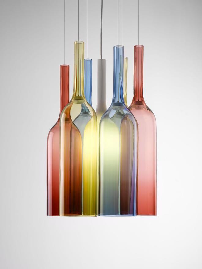 Superb Lampen und Leuchten Jar RGB ist eine Lampenkollektion vom Designer Arik Levy f r die Firma Lasvit die aus speziell gefertigten farbigen Glasflaschen besteht