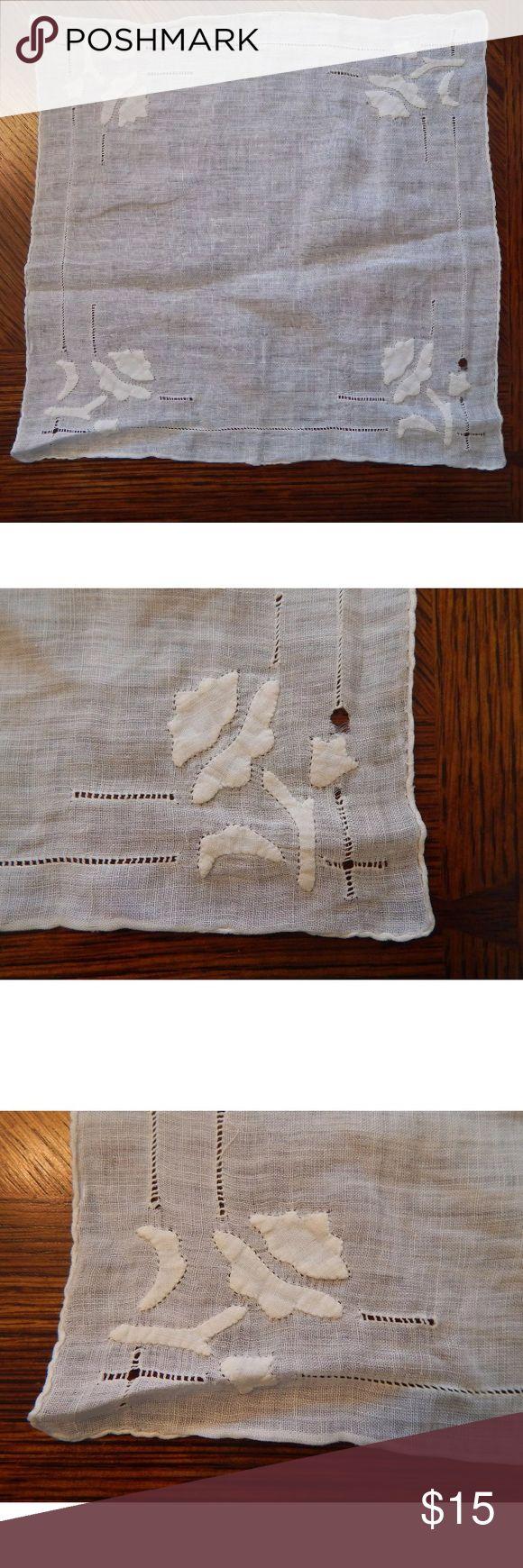 """Vintage 1920s Nouveau Tulip Mens Pocket Square Vintage 1920s White Nouveau Tulip Mens Handkerchief Pocket Square  10"""" x 10"""" Vintage Accessories Pocket Squares"""