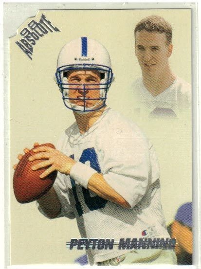 1998 Playoff Absolute Die Cut Peyton Manning Rookie Card #165 Super Bowl Champ