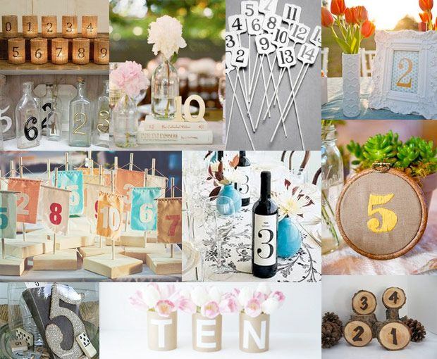 creative table number ideas for weddings | table numbers