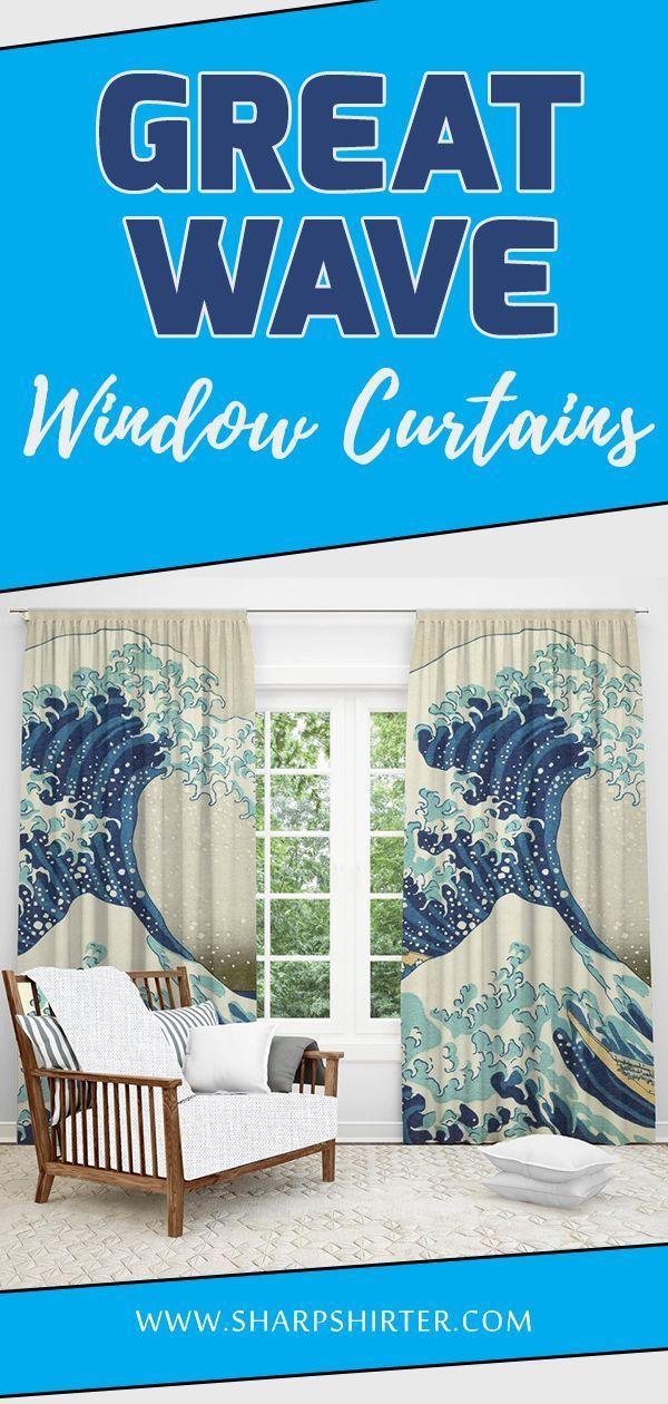 Great Wave Window Curtain Window Curtains Curtains Window