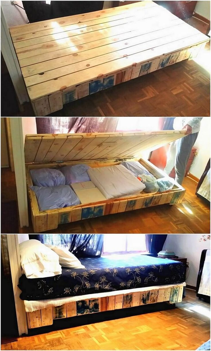 This is a simple designing of the wood pallet bed framing as with the storage space along with it for you. You can avail this storage box for keeping your unnecessary items or can even store your books or toys. The bed framing has been all set with the innovative crafting variations.
