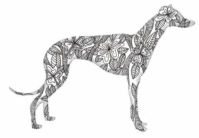 Greyhound doodle by kellynowellies, via Flickr
