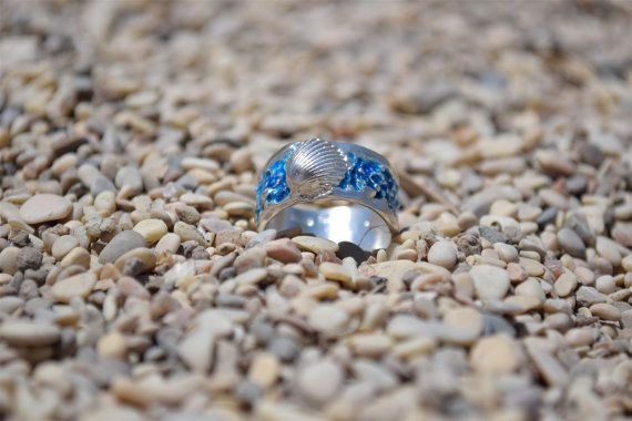 Sterling Silver Ring Blue Mermaid Ring Seashell Ring Blue