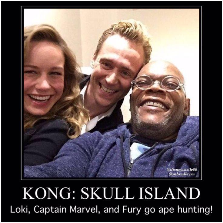 Loki, Captain Marvel, and Fury; Kong: Skull Island