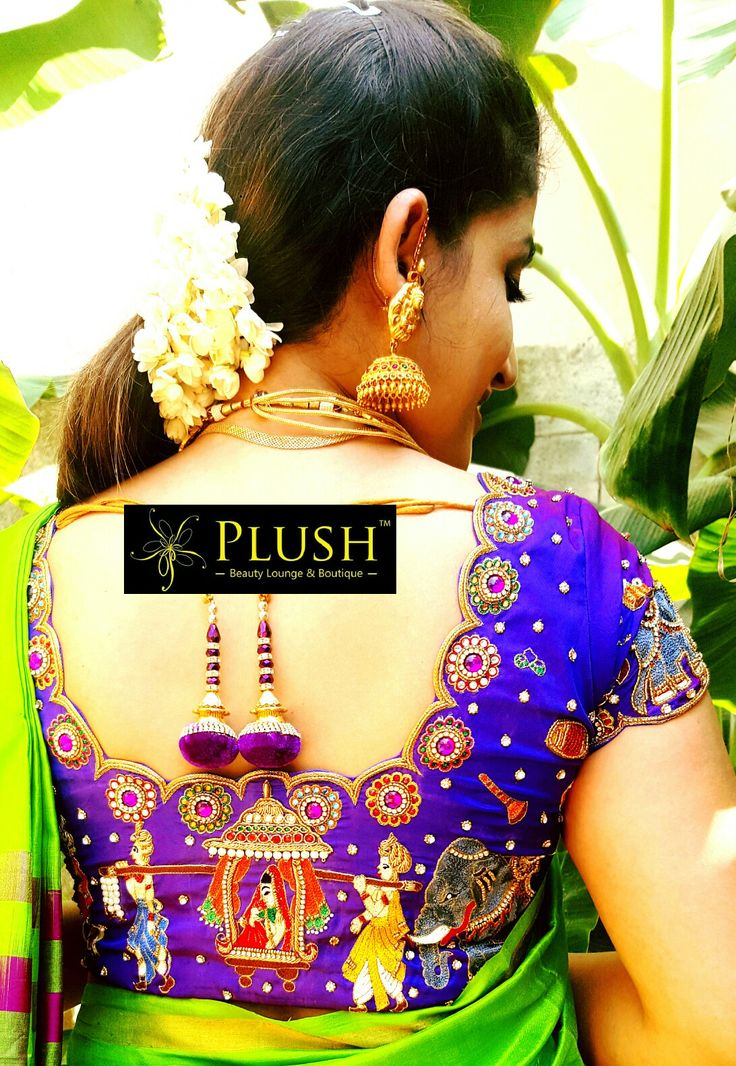 Pallaki Design Maggam work blouse Design.. worn with soft Uppada saree.. specially designed for #Santhoshi #MaggamBlousework #Designerblouses #Weddingblouse #Silksareeblouse #BridalBlouse #blouse all done at #PLUSHBOUTIQUEANDBEAUTYLOUNGE