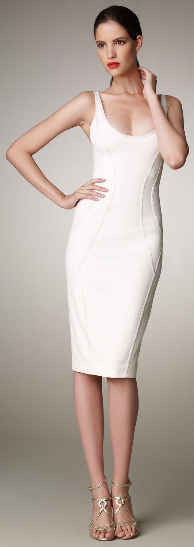 Donna Karan Stretch Tank Dress  White  Pinterest  Panelling ...