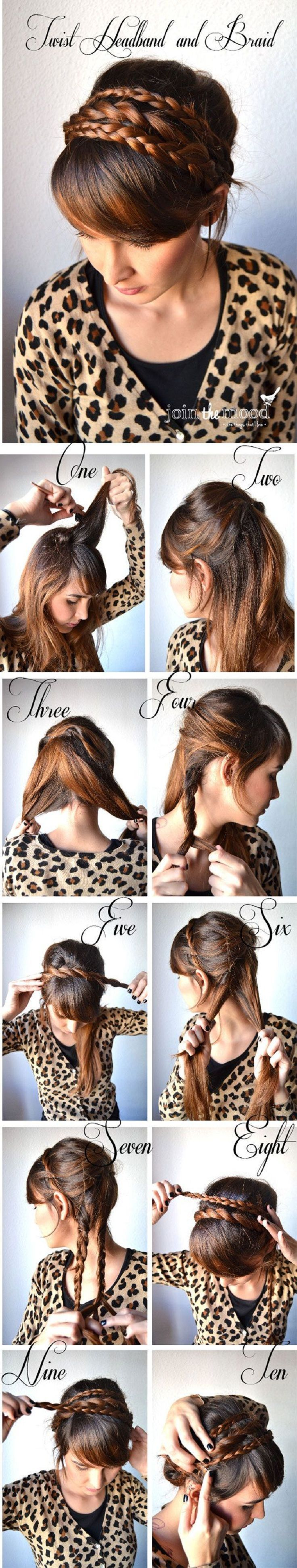Twist & braid hairstyle. Since my hair is very thin, wonder if I could fake it with braided hair pieces... Hmmm...