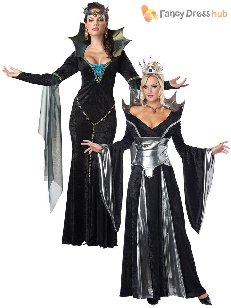 Ladies Sexy Evil Queen Sorceress Fairytale Womens Halloween Fancy Dress Costume #CompleteOutfit