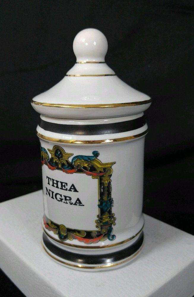 "Vintage Porcelain Apothecary Pharmacy jar "" Thea Nigra "" Royal China Vigo  #RoyalChinaVIGO"