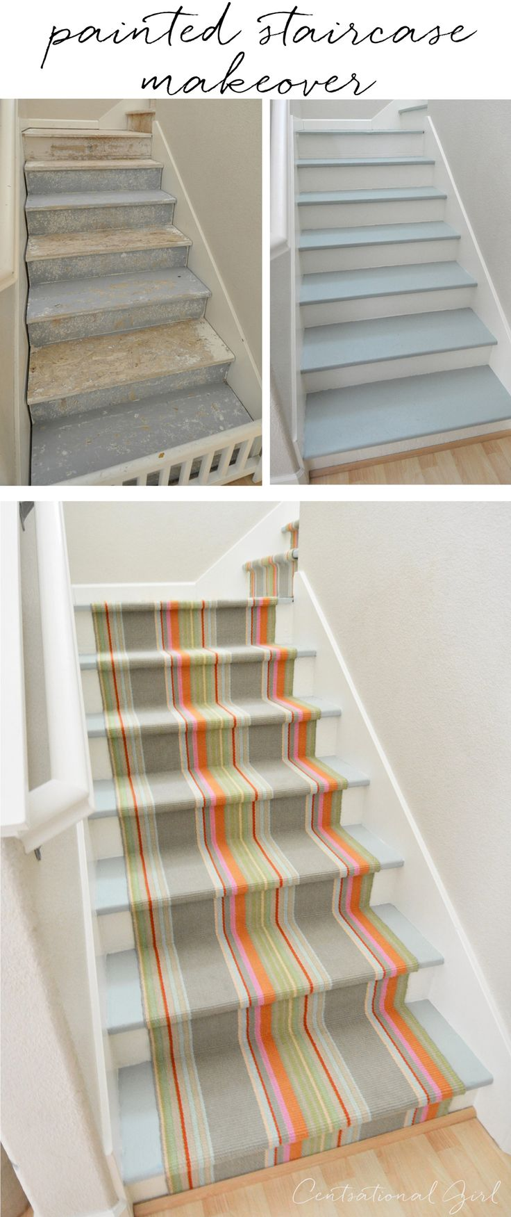painted+staircase+makeover+with+striped+runner