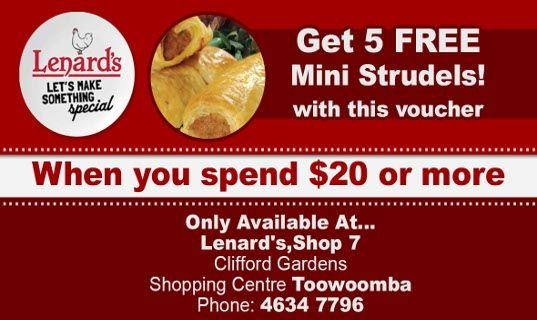 FREE mini strudels x 5 special at Lenard's Clifford Gardens