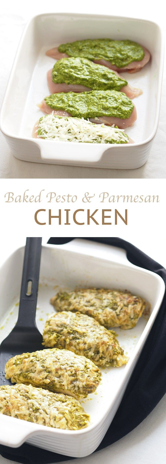 Delicious and healthy baked pesto parmesan chicken, quick and no carbs.