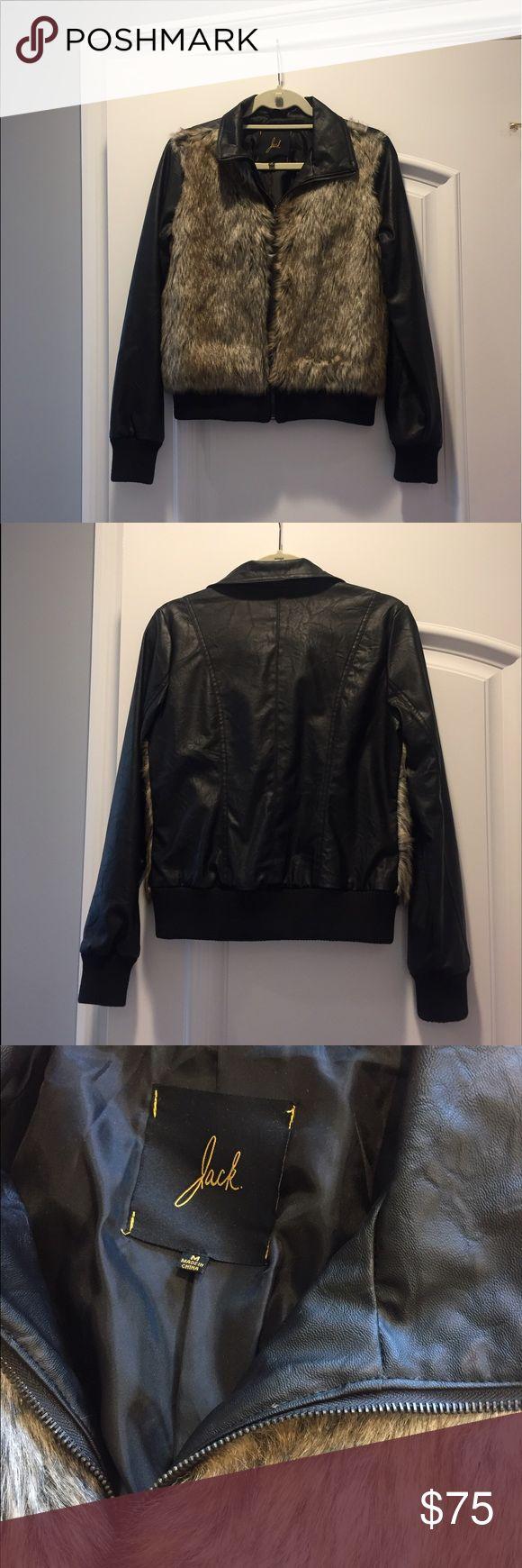 Jack by BB Dakota Faux Leather Faux Fur Jacket Trendy Faux Leather and Faux Fur jacket. Great with jeans or over a dress. Only worn twice ! Jack by BB Dakota Jackets & Coats
