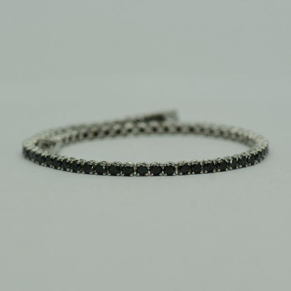 Bratara 18k din aur alb cu diamante negre
