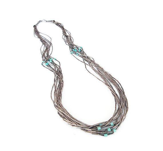 Vloeibare zilveren ketting, Turquoise kralen, Heishi ketting, zuidwesten sieraden, Indiaanse stijl, Vintage ketting, Vintage sieraden
