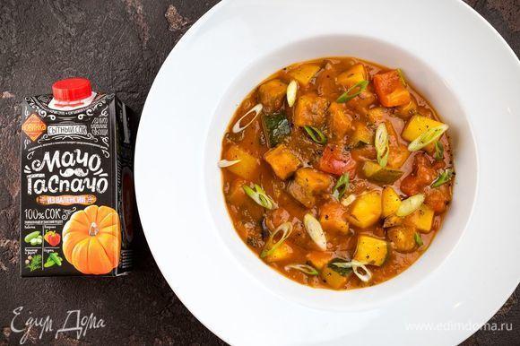 Подавайте овощное рагу Pisto manchego в теплом или в холодном виде, посыпав рубленым зеленым луком. Приятного аппетита!
