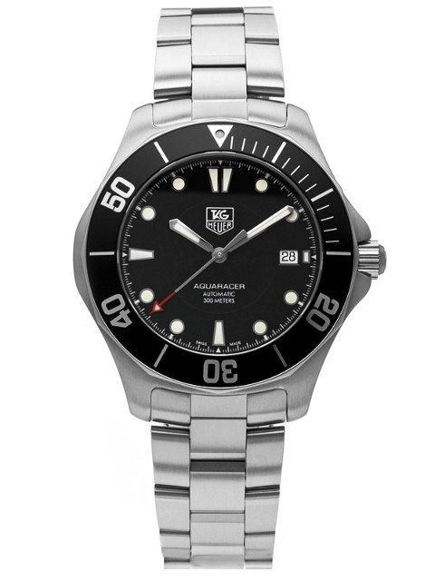 Tag Heuer Aquaracer automatic waterproof watch. I has a scratch resistant sapphire glass and 60 minute rotating bezel.