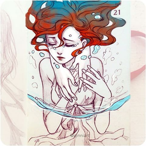 """""""Don't let me drown..."""" This started off as a girl in a swing in water...I'm not sure what happened...- qinni art"""