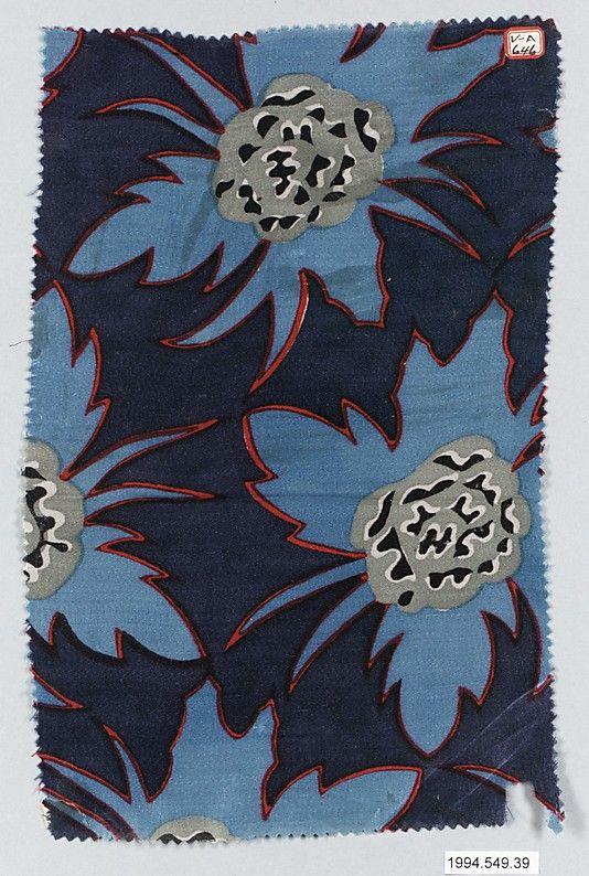 """""""Indigo"""" Textile Sample, Maria Vera Brunner  (Austrian, 1885–1965) Wiener Werkstätte, 1917"""
