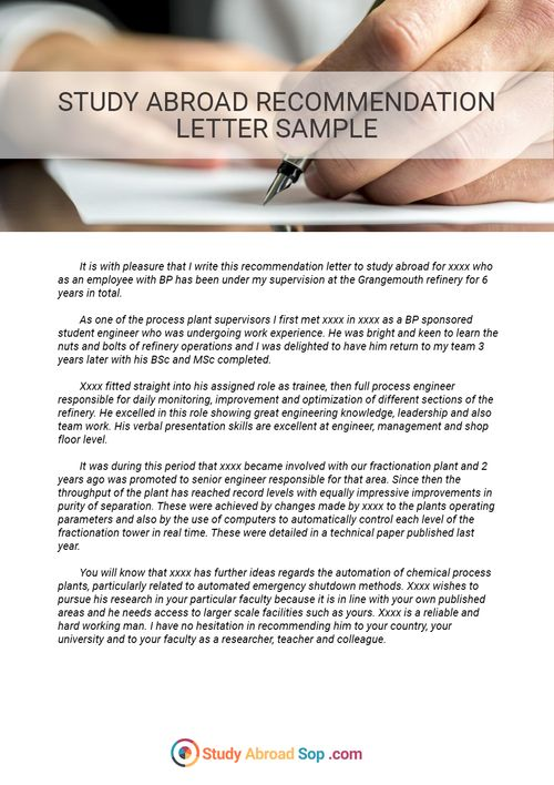 Pin by Study Abroad Document Samples on Study Abroad Recommendation Letter Sample  Literature