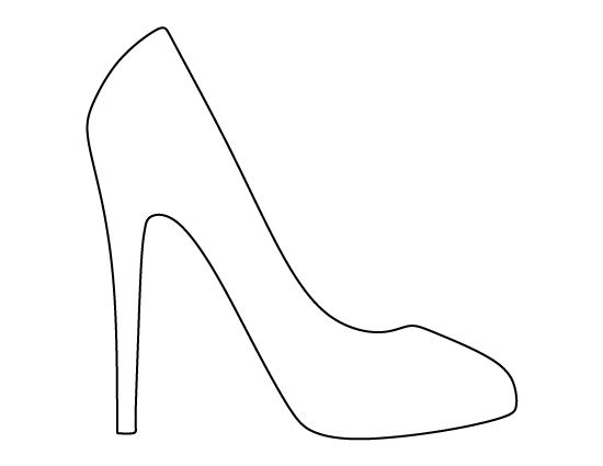 High heel pattern. Use the printable outline for crafts, creating stencils, scrapbooking, and more. Free PDF template to download and print at http://patternuniverse.com/download/high-heel-pattern/