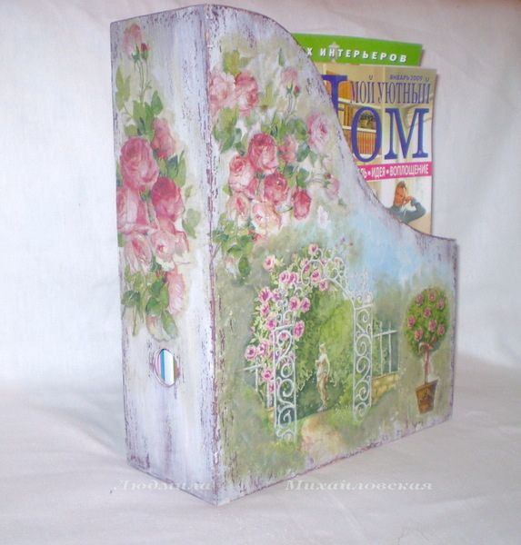 shabby chic magazine holder decoupage tutorial painted distressed decoupaged with napkins. Black Bedroom Furniture Sets. Home Design Ideas