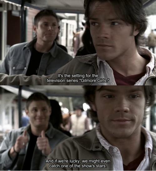 haha i get it... cuz jared wuz on Gilmore Girls b4 Supernatural lol