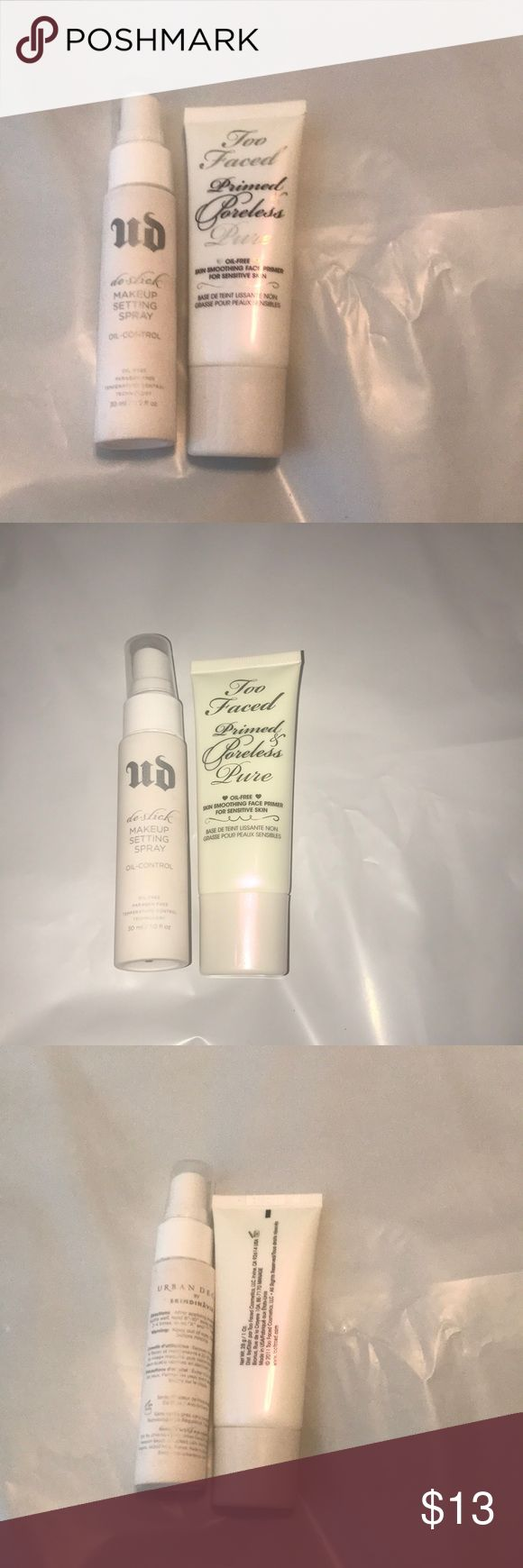 Too faced urban decay bundle primer/setting spray The urban decay de-slick setting spray is prolly 75% full and the too faced primer is prolly 80% full. Both are full size items and authentic Too Faced Makeup Face Primer