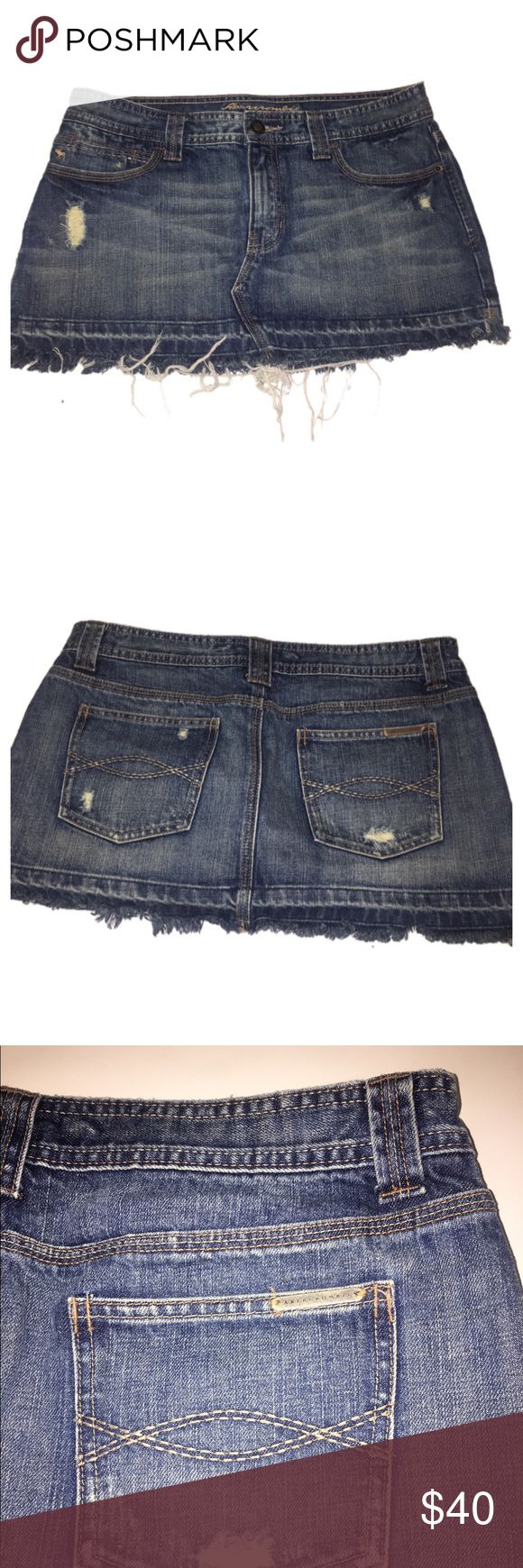 """Abercrombie and Fitch skirt Perfect condition denim skirt , 17"""" waist laying flat, 12-13"""" length . Frayed hem, distressed spots. Size 8. Abercrombie & Fitch Skirts Mini"""