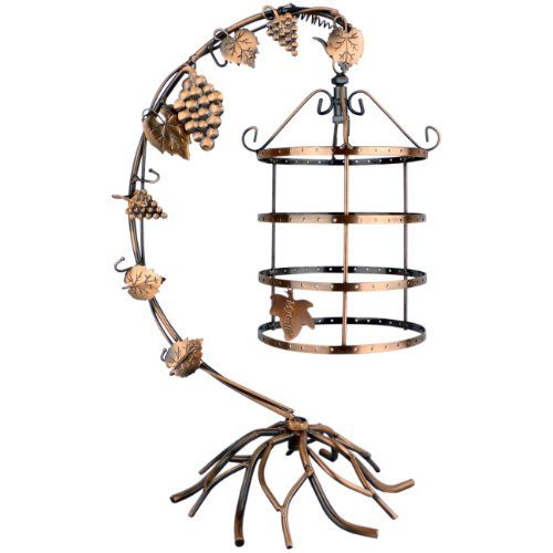 Birdcage Jewelry Display. Simple and elegant bronze painted metal birdcage style jewelry holder. With tree branches stand and climbing plants of grapes,leaves décor give this jewelry display stand a sophisticated and charming look. 4 Tiers 360 degree Rotating Spin Table Top earring holder holds up to 72 pairs earrings while 5 curved hooks organize your necklace and bracelets. This MyGift jewelry hanger is perfect for hanging (and displaying) all of your pretty little collection. Color…