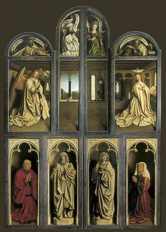 Ghent Altarpiece - Hubert and Jan van Eyck.  1432.  Oil on panel.  12 1/2 x 8 1/2 ' (closed).  Cathedral of St. Bavo, Ghent, Belgium.
