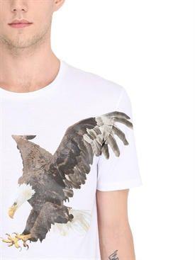 """neil barrett - мужчины - футболки - футболка из хлопкового джерси с принтом """"eagle"""""""