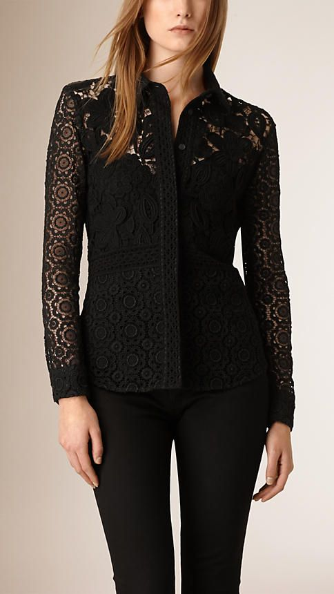 Black Macramé and Lace Shirt - Image 1