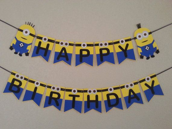 Minions Despicable Me Happy Birthday Banner,Free Shipping USA its a girl,itsc a boy,baby shower or welcome baby banne, can be personalized.