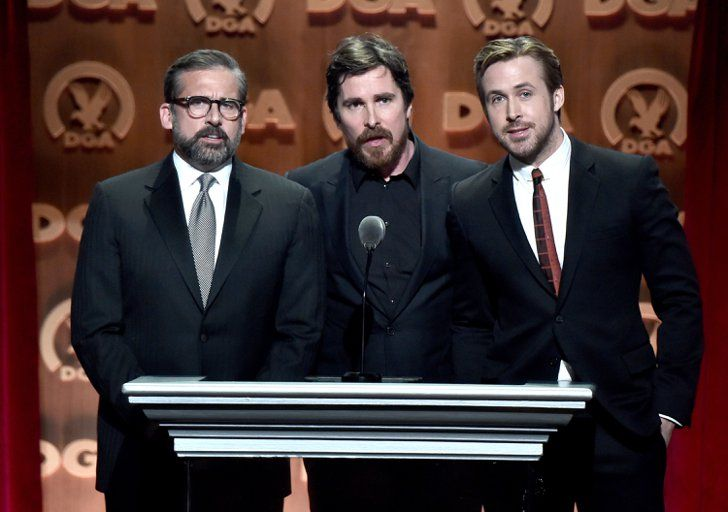 Pin for Later: Ryan Gosling Gears Up For the Oscars at the Directors Guild Awards  Pictured: Steve Carell, Ryan Gosling, and Christian Bale