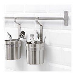 IKEA - GRUNDTAL, Barre support, 40 cm, , Libère le plan de travail.Peut servir de porte-serviettes ou de support pour couvercles de casseroles.