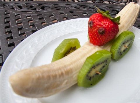 Fun With Food - Bananamobile.  Banana, strawberry, kiwi, raisin (for eyes), opt peanut butter or whipped cream for 'glue.' Use toothpicks to attach kiwi wheels.Make 2 small holes in strawberry for raisin eyes. Make small hole in banana for strawberry to sit and use 'glue' to keep in place.