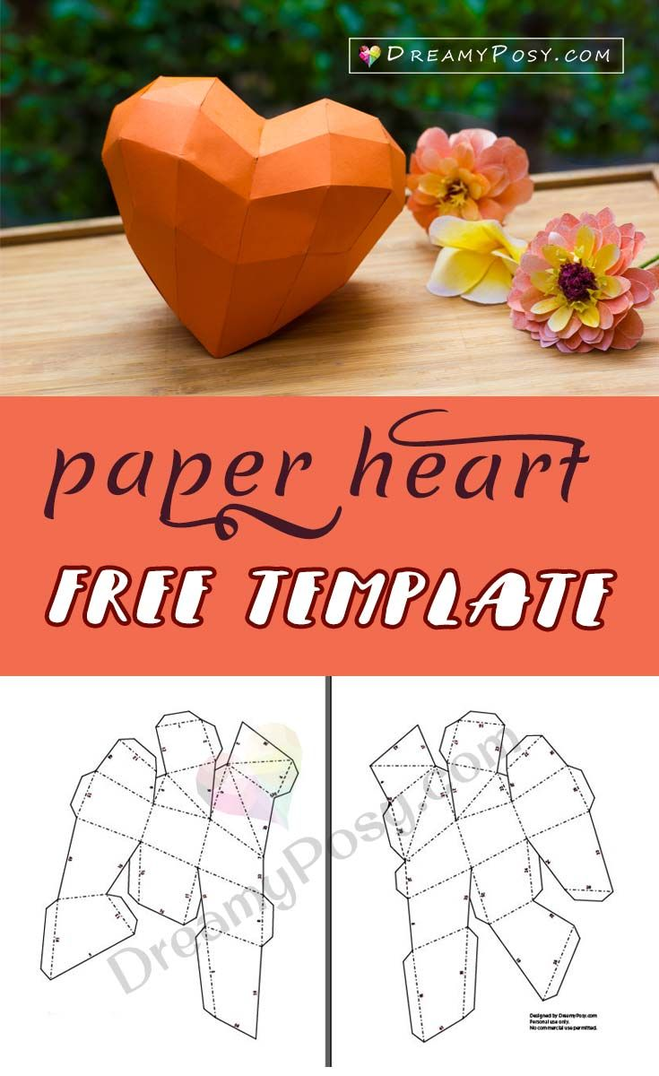 Free template to make paper heart, a 3D heart from paper #paperheart #valentine #valentinesday #3dheart #heart #hearthstone