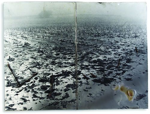 Anselm Kiefer Schwarze Flocken–Für Paul Celan Artist Book, 32 pages, Germany, 2005 Acrylic, charcoal, branches on photograph, mounted on cardboard, 62.5x42x15 cm
