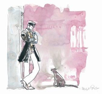 Hugo Pratt's Corte Maltese in conversation with a street cat