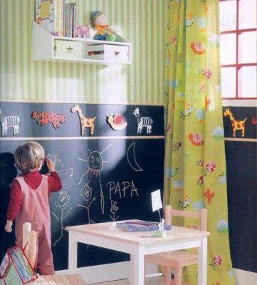 Decoideas: La pintura pizarra. Visto en el blog de Mamás Creativas. http://www.mamas-creativas.blogspot.com