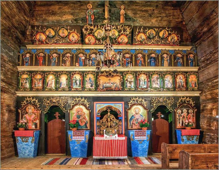 """The altar of an ancient """"Russian wooden"""" church (Bardejovske Kupele, Slovakia)."""