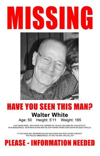 Breaking Bad Walter White Missing TV Show Poster 11x17