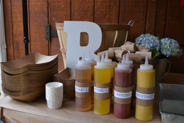 condiments for nautical first birthday/crab feast